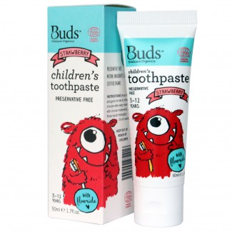 Buds 3-12 Years Children's Toothpaste with Fluoride - Strawberry