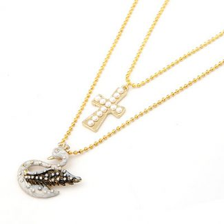 Gold Swan Cross Double Necklace